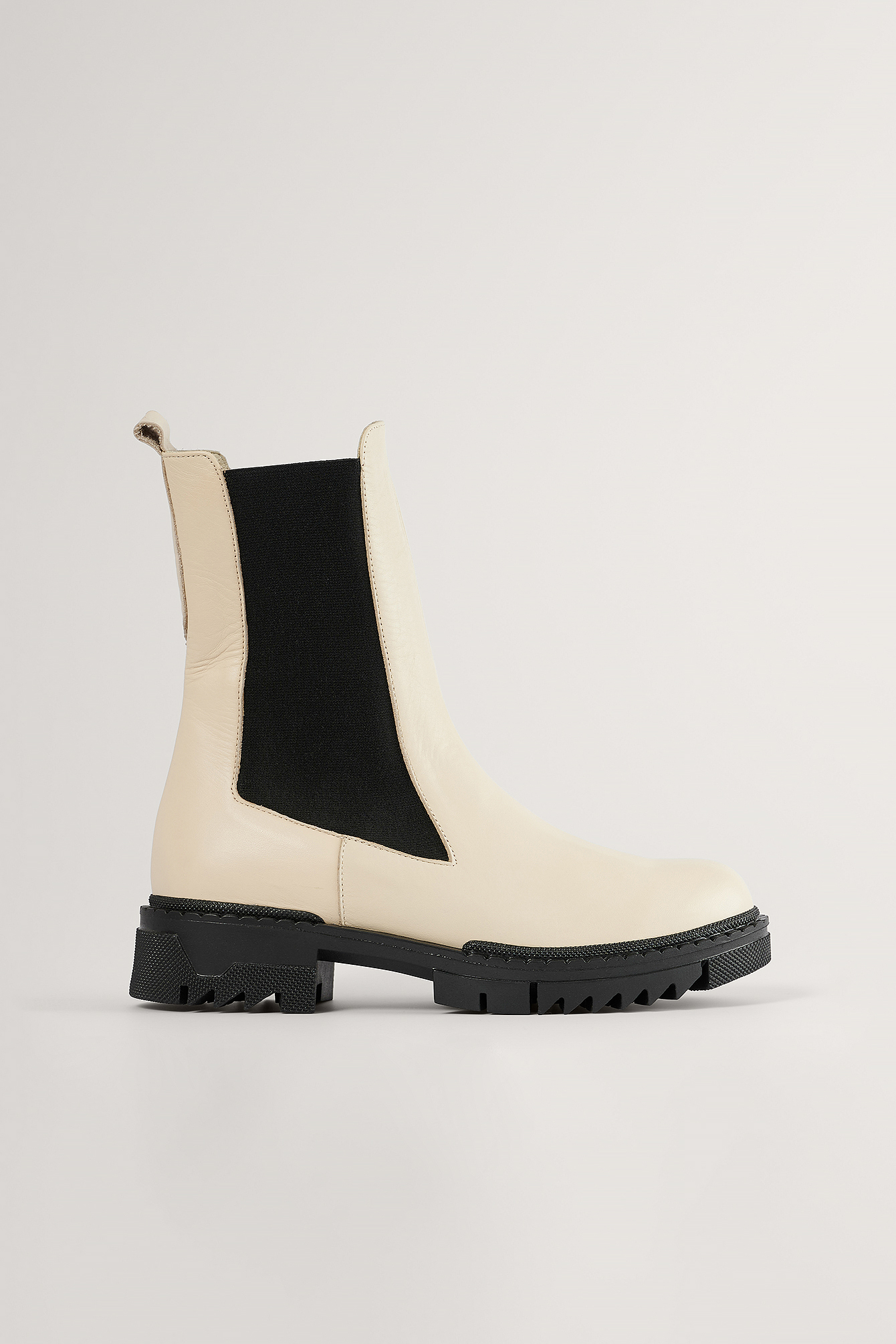 Creme Leather Profile Chelsea Boots