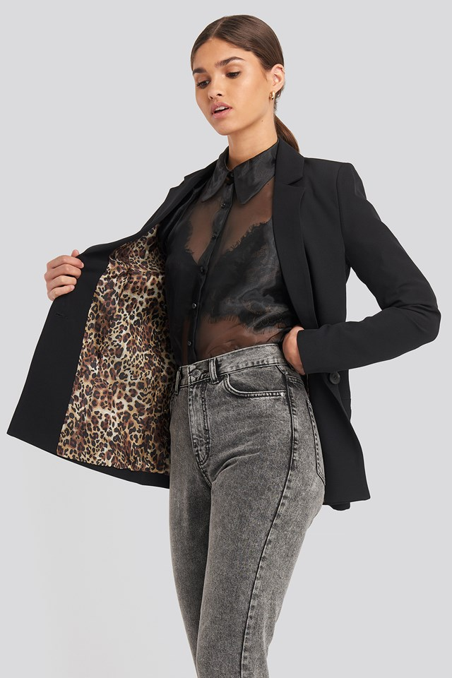 Leopard Lining Detailed Jacket Black