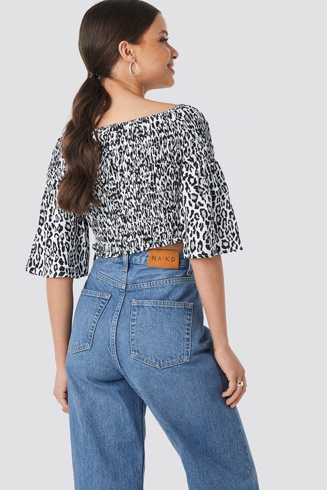 Leopard Print Bardot Smock Top Black/Leopard