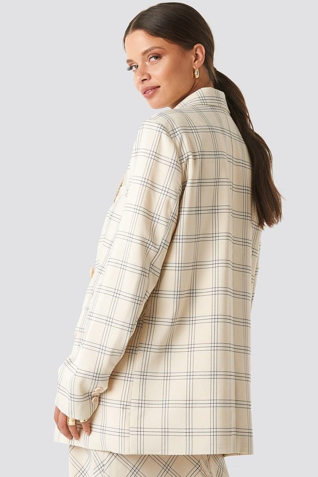 Light Checkered Long Blazer Cream