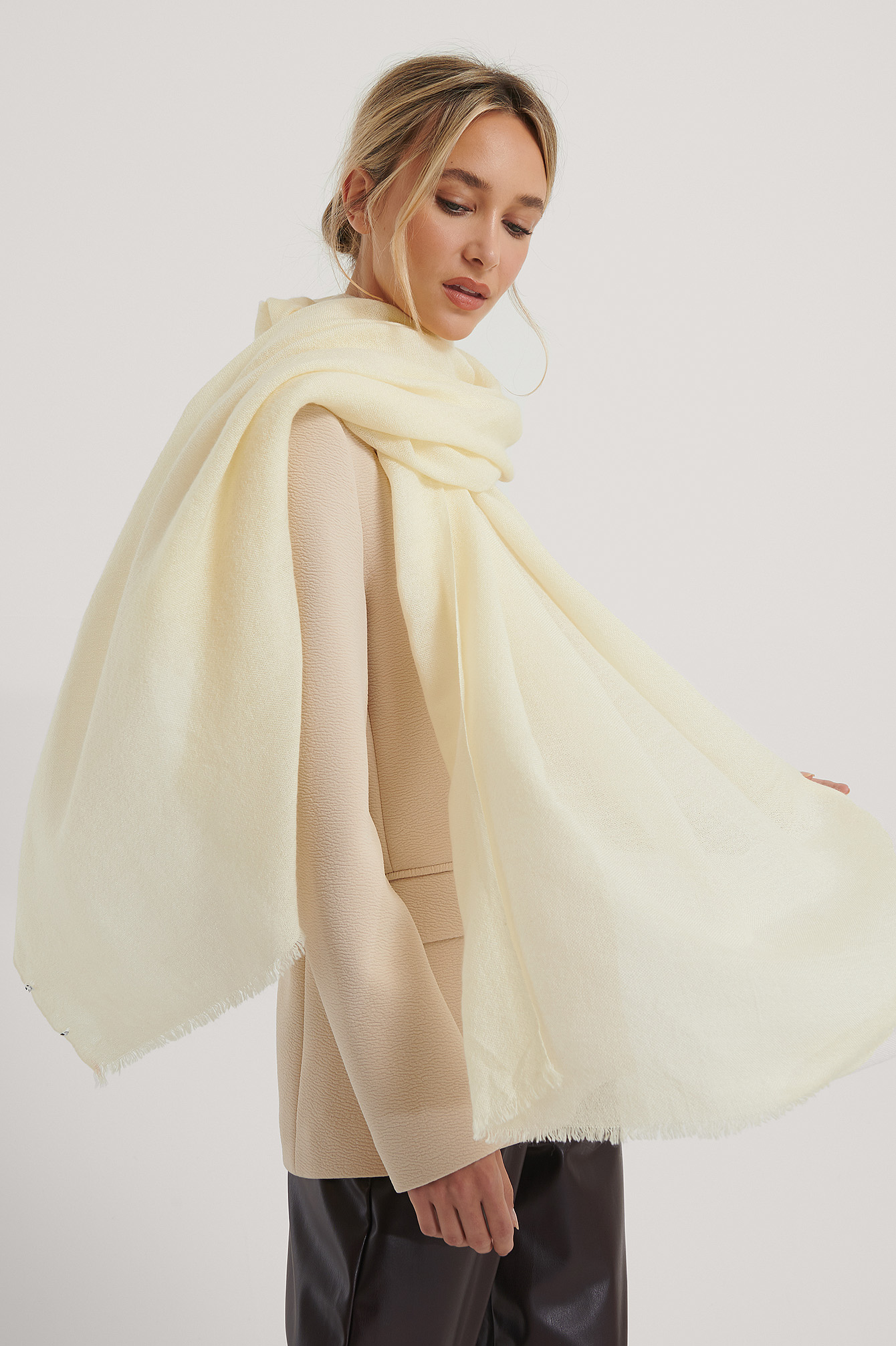 Creme Light Woven Wool Blend Scarf