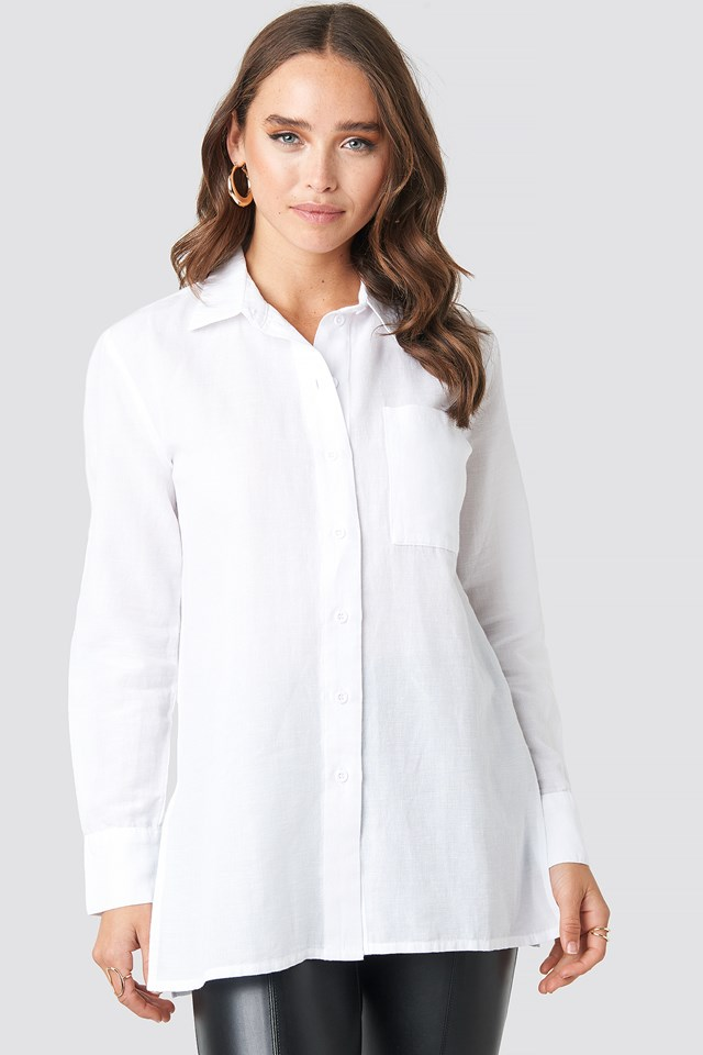 Linen Blend Button Up Shirt White