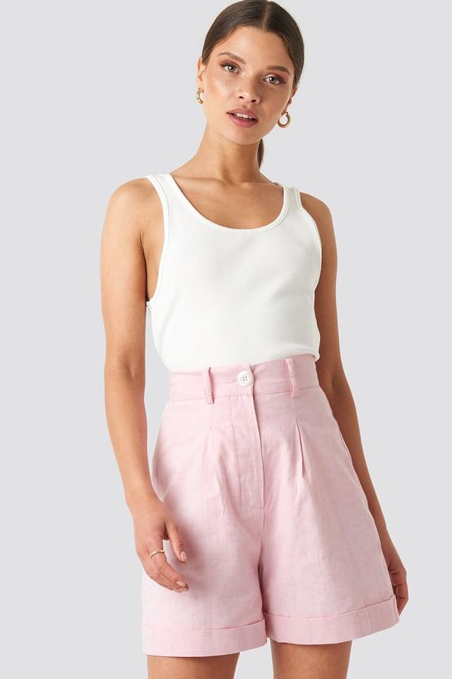 Linen Blend Shorts Light Pink