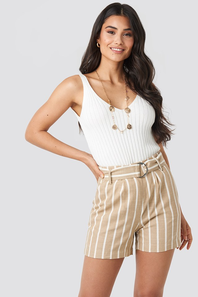 Linen Look Striped Shorts NA-KD Trend