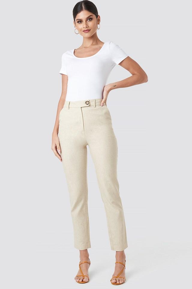 Linen Look Suit Pants Beige