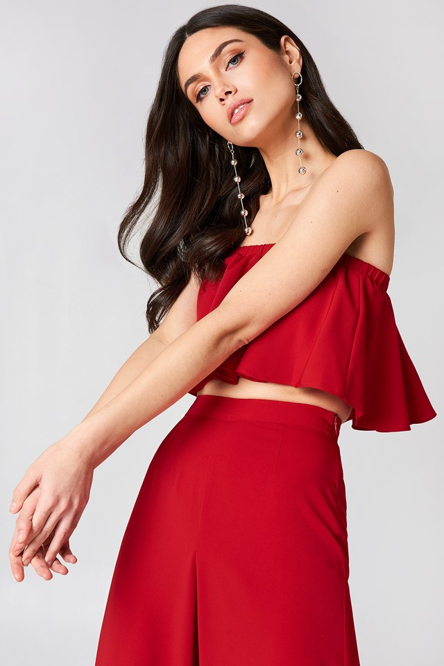 Cropped Flounce Top Red