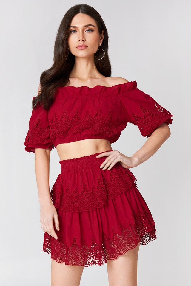 Embroidery Set Skirt Red