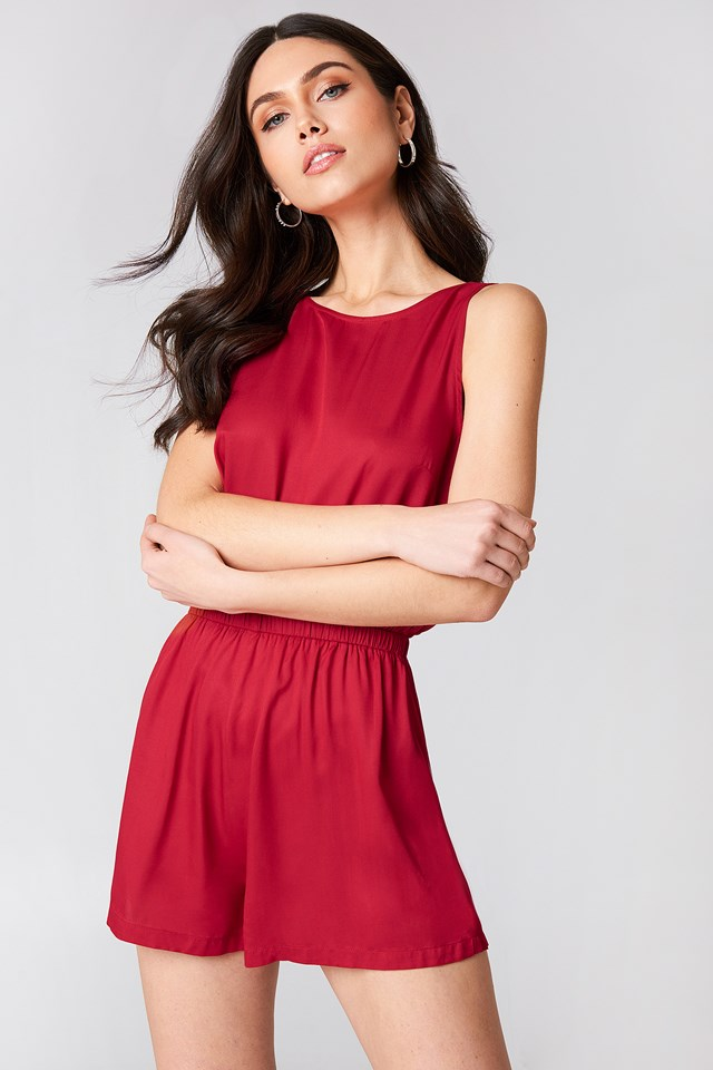 Knot Back Playsuit Red