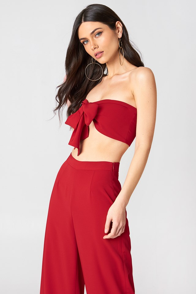 Knot Bandeau Top Red