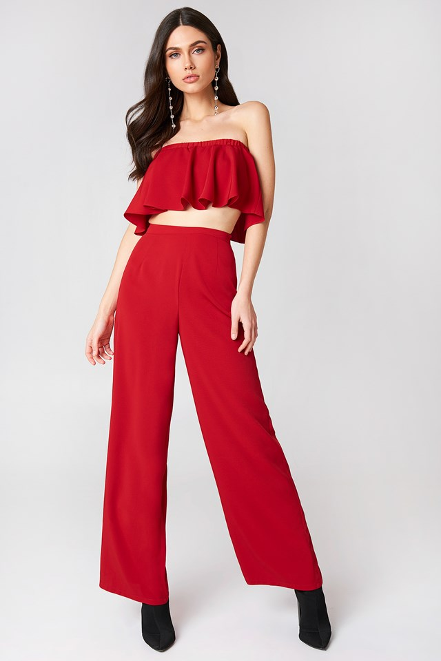 Solid Wide Pants Red