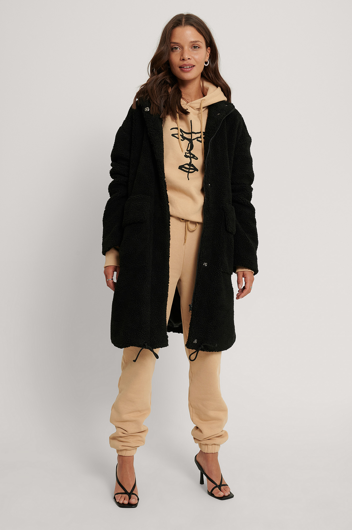 Black Front Pocket Drawstring Teddy Coat