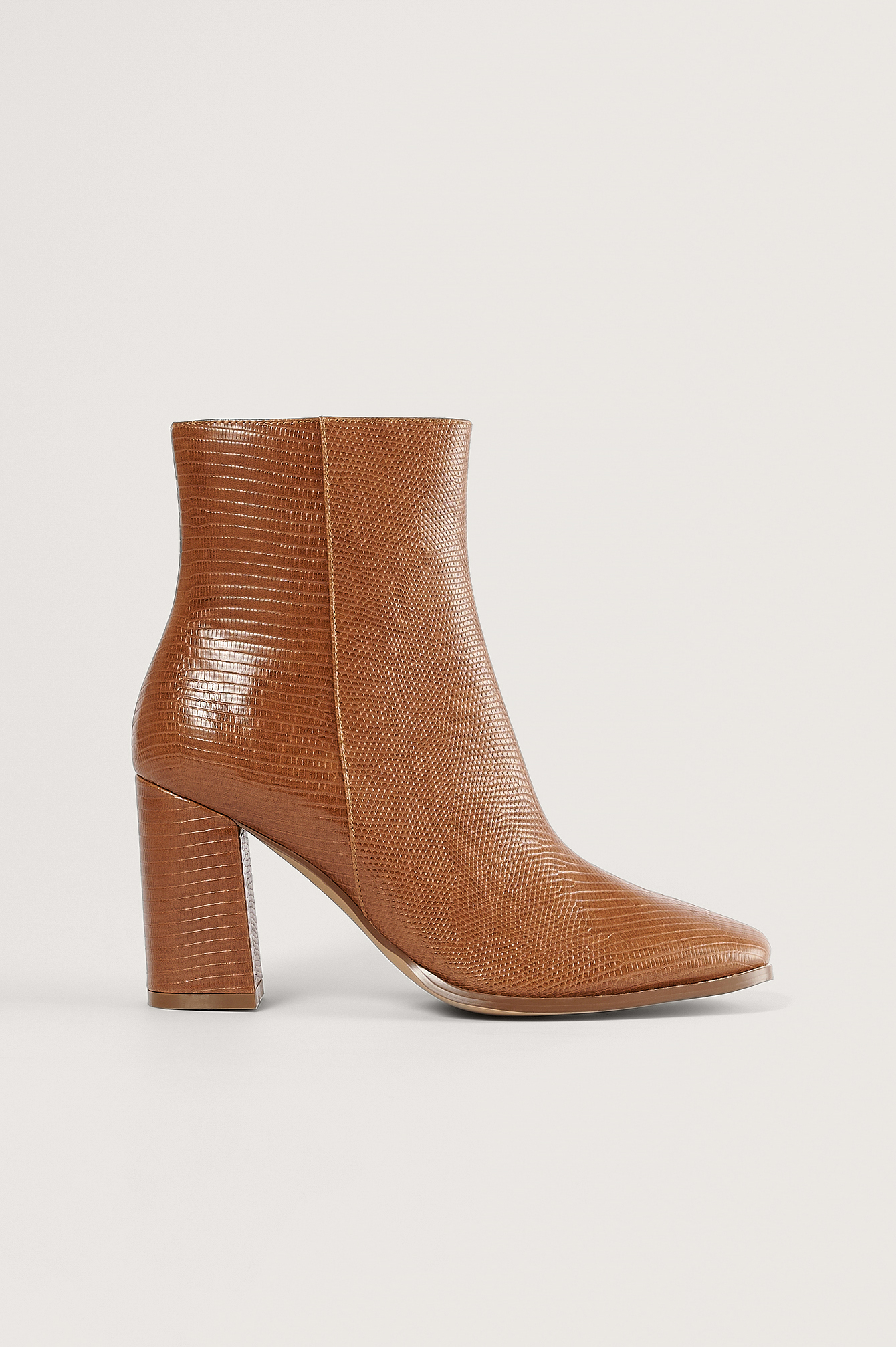 Brown Lizzard Block Heel Boots