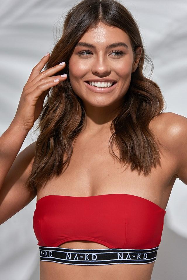 Logo Cut Out Bandeau Bikini Red