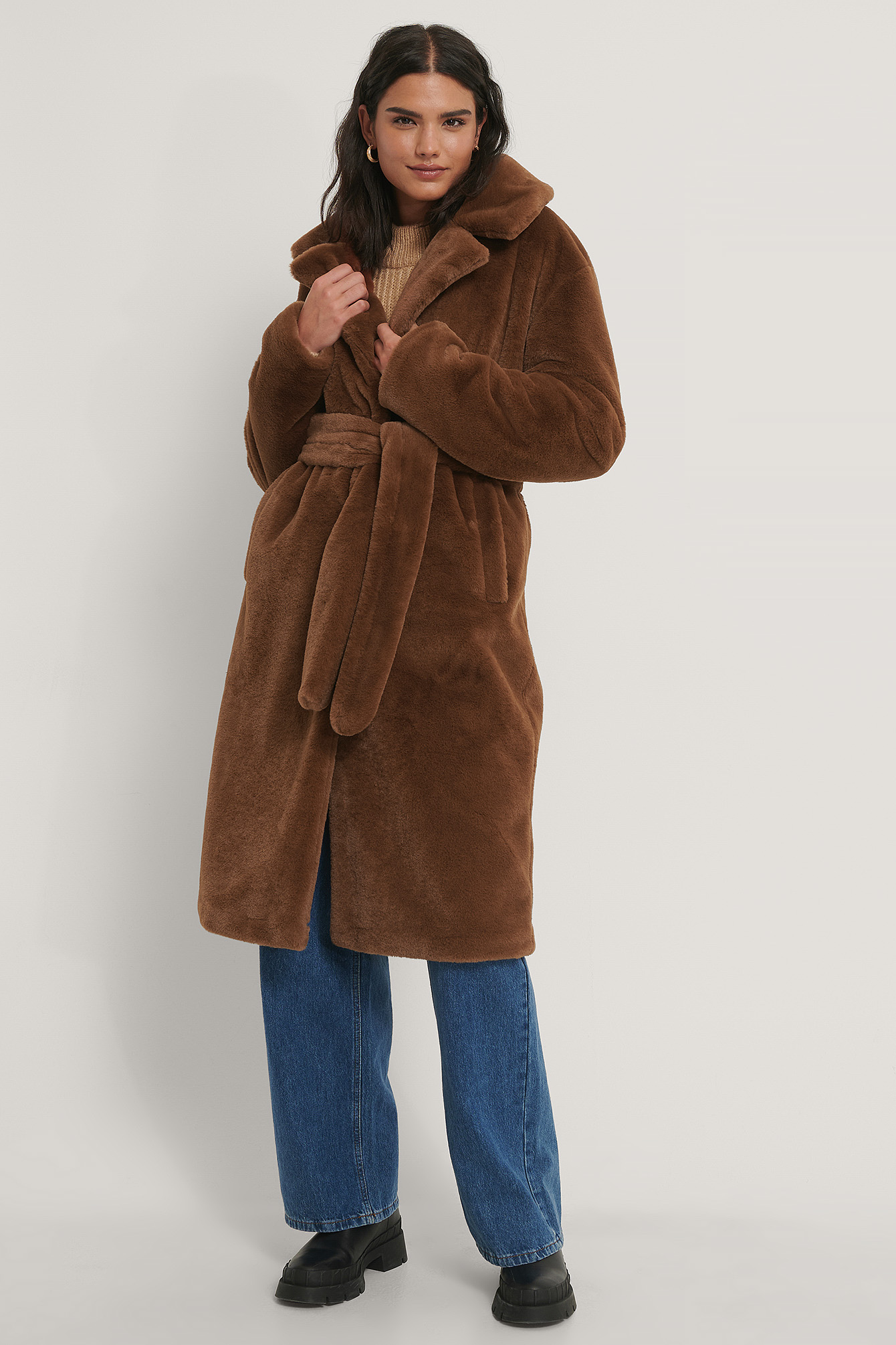 Brown Long Belted Faux Fur Coat