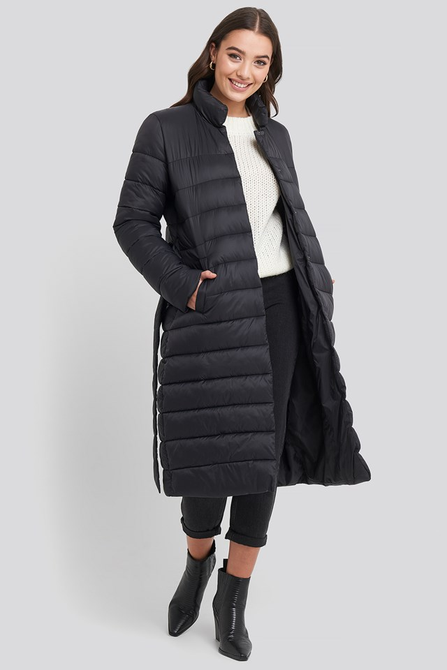 Long Belted Padded Jacket NA-KD