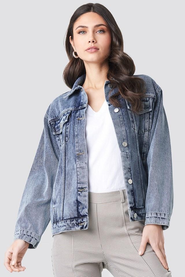 Long Oversized Denim Jacket NA-KD Trend