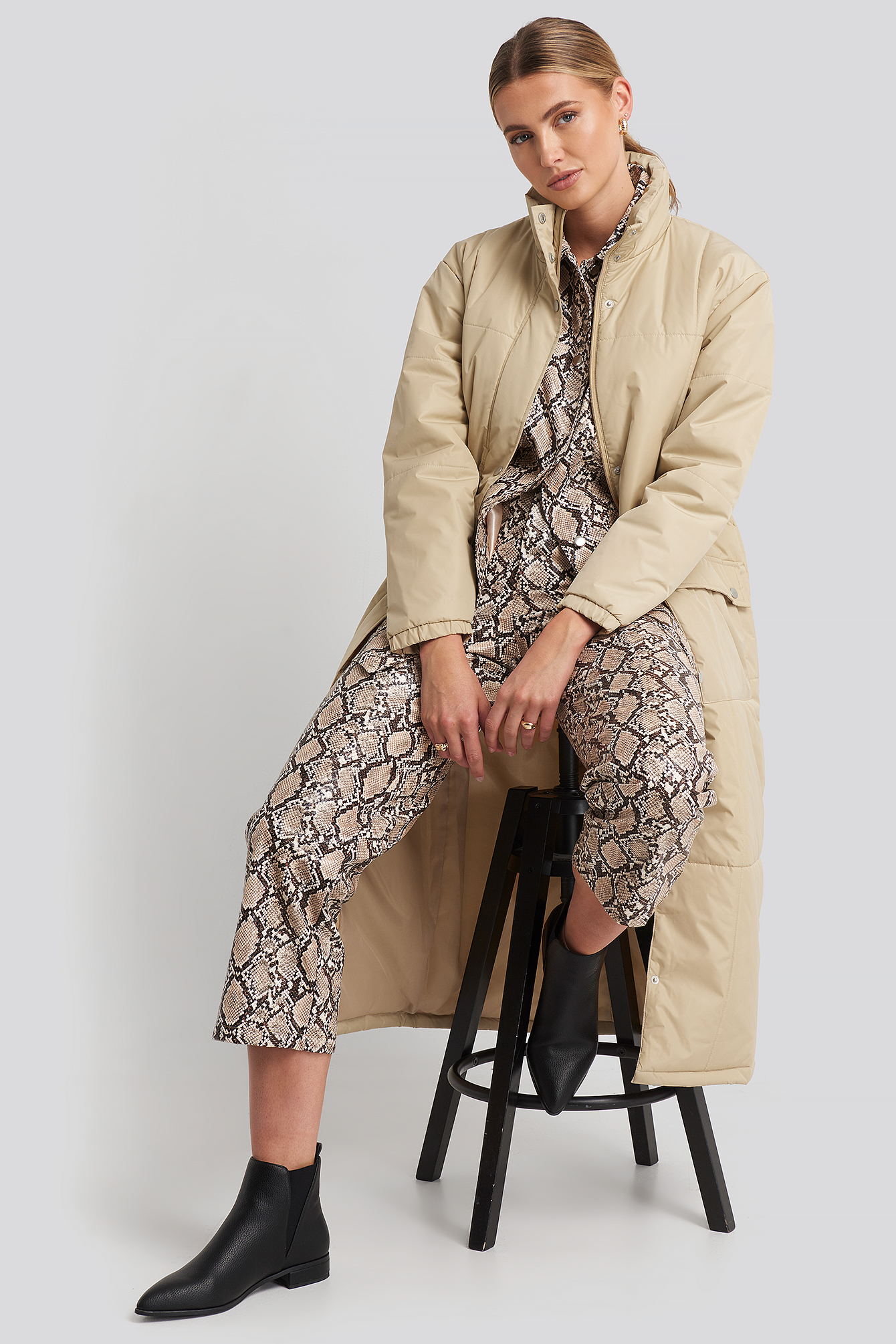 Beige Long Padded Jacket