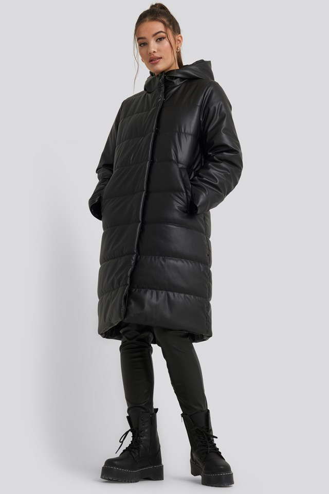 Long PU Padded Jacket NA-KD