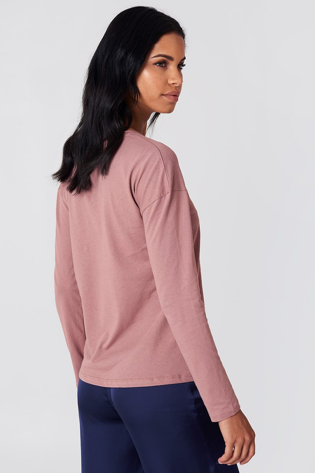 Long Sleeve Basic Top Dusty Dark Pink