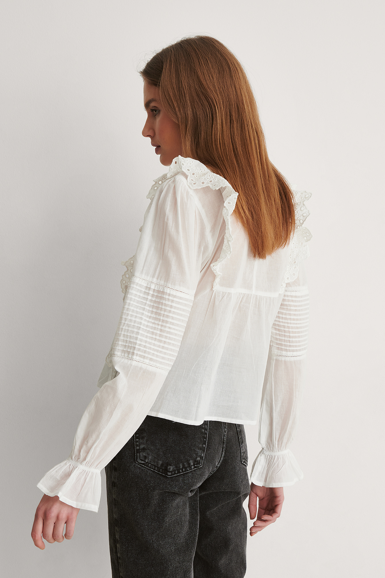 White Long Sleeve Frill Cotton Blouse