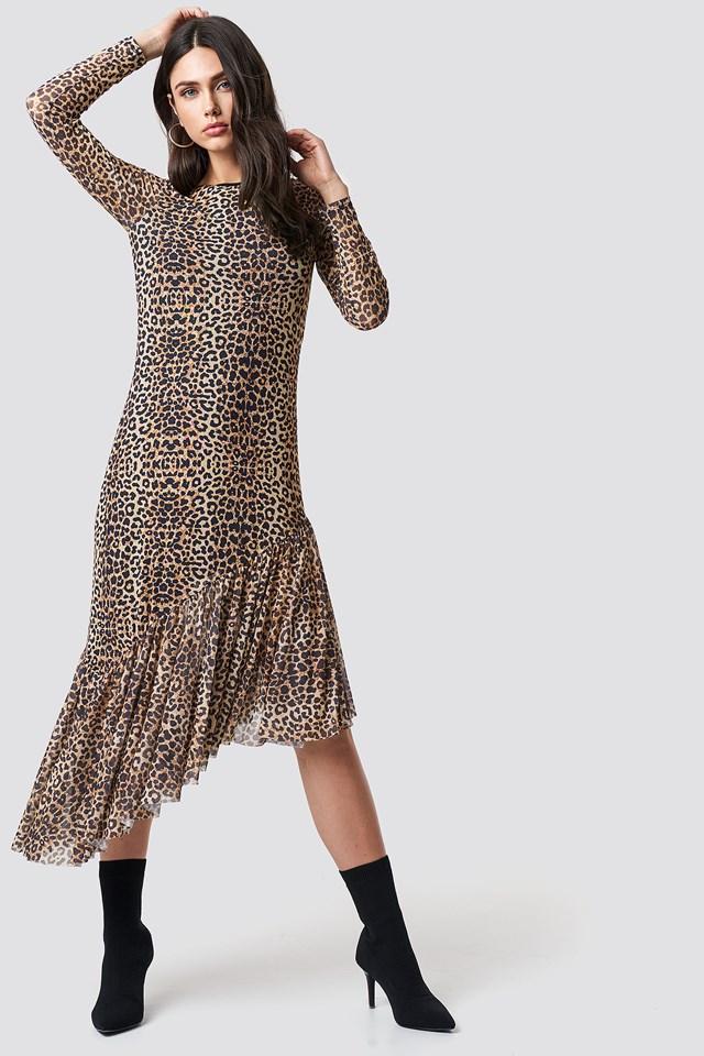 Long Sleeve Mesh Dress Leopard