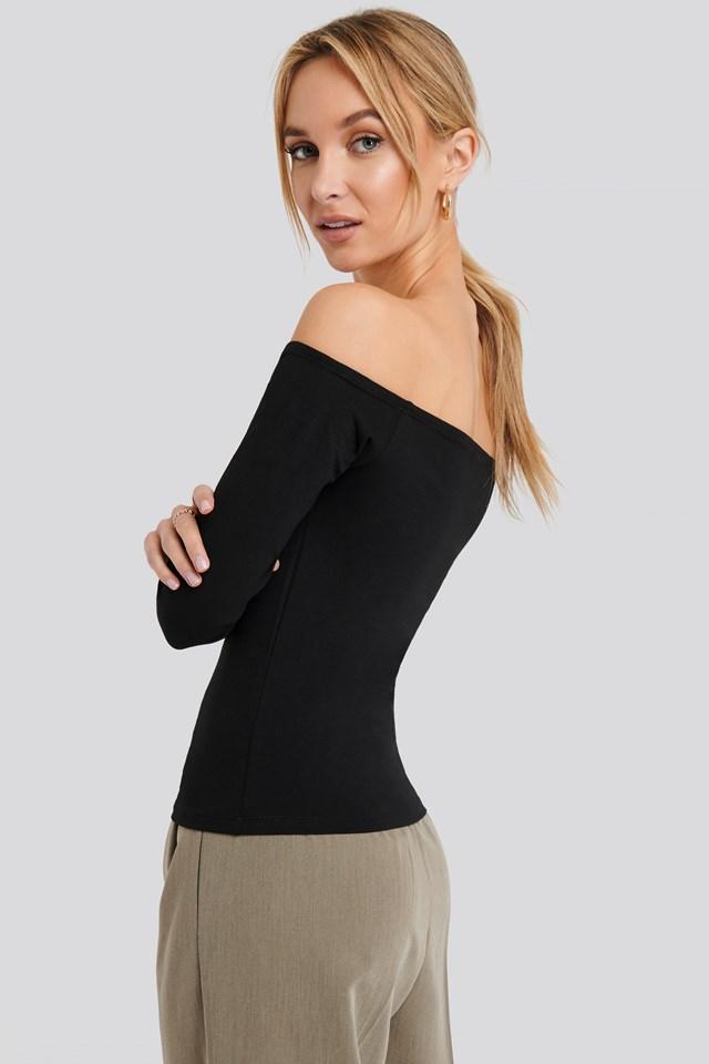 Long Sleeve Off Shoulder Top Black