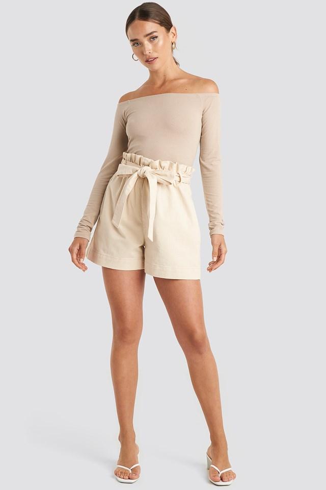 Long Sleeve Off Shoulder Top Beige