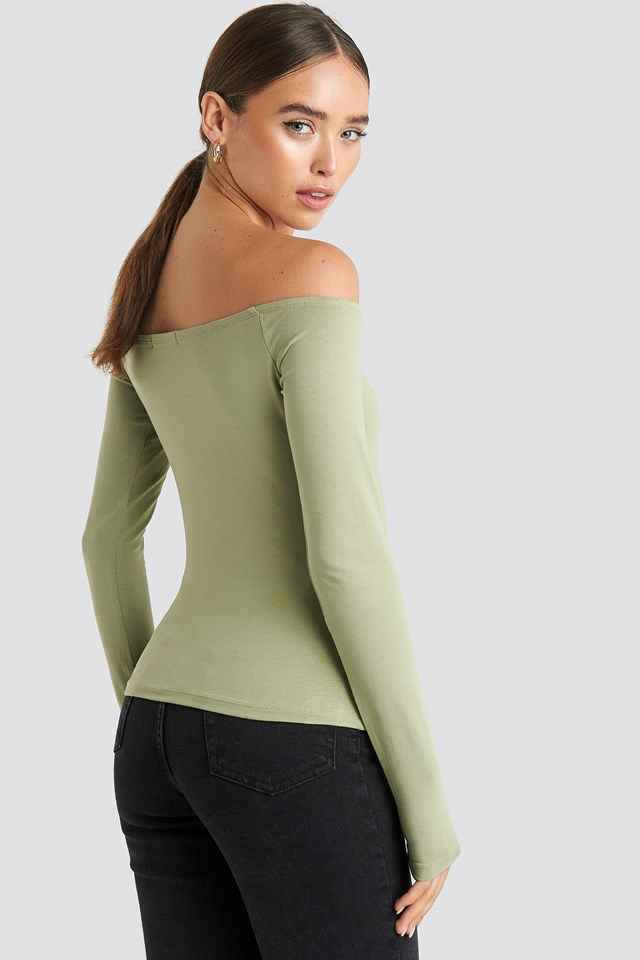 Long Sleeve Off Shoulder Top Khaki