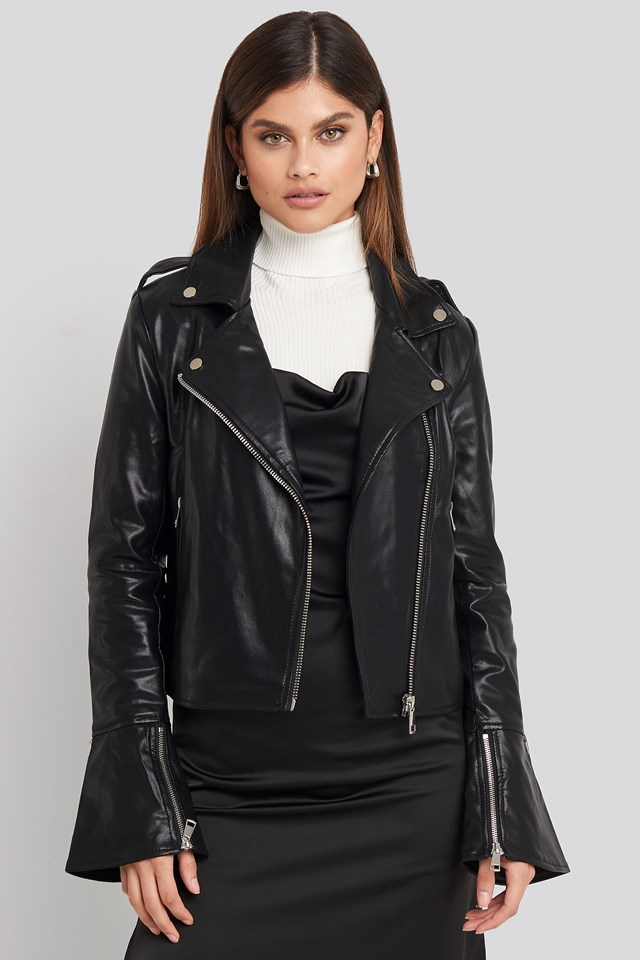 Long Sleeve PU Biker Jacket NA-KD