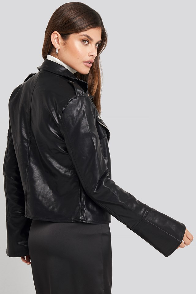 Long Sleeve PU Biker Jacket Black