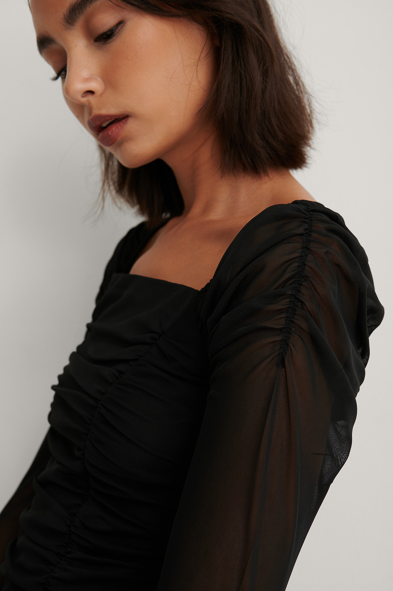 Black Long Sleeve Rouched Mesh Top