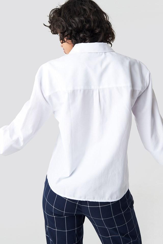 Long Sleeve Wide Cuff Shirt White