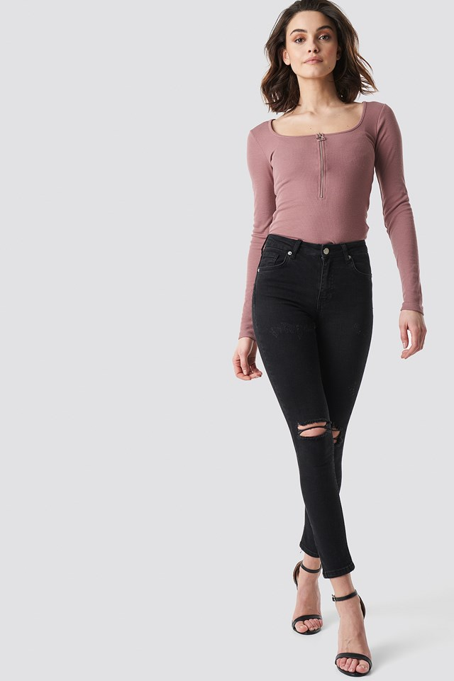 Long Sleeve Zipped Top Dusty Dark Pink
