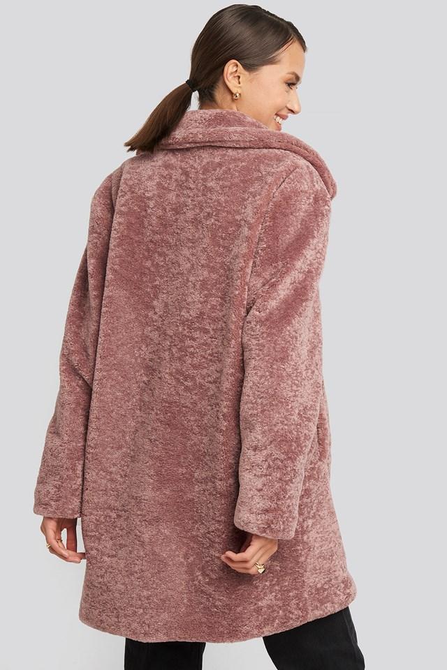 Long Teddy Coat Dusty Dark Pink