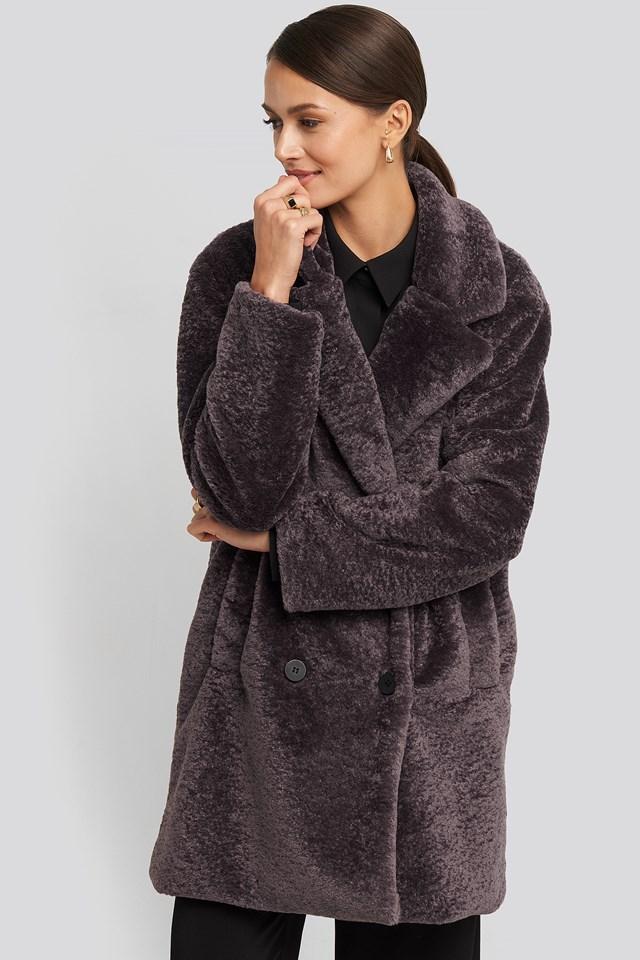 Long Teddy Coat Dusty Purple