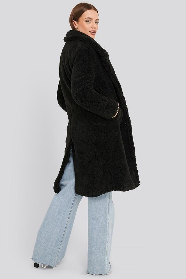 Long Teddy Coat Black