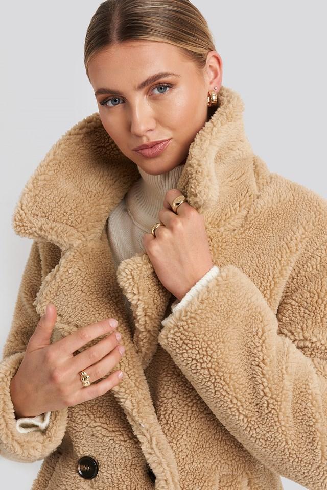 Long Teddy Coat Beige