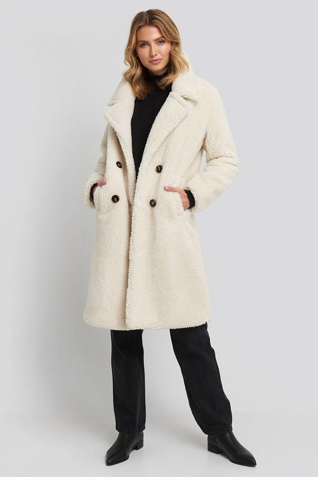 Long Teddy Coat Offwhite