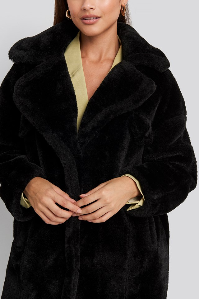 Long Teddy Fur Jacket Black