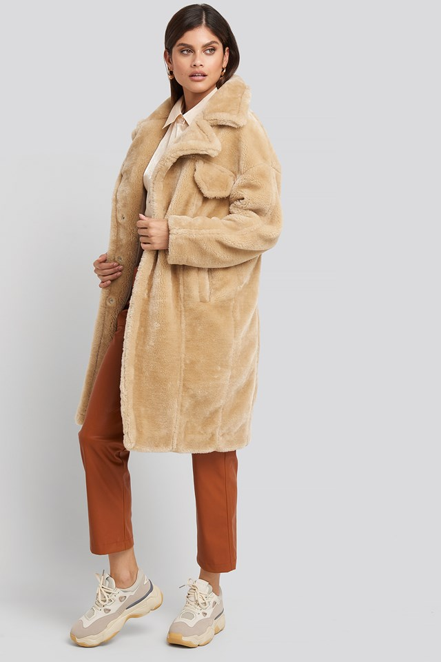 Long Teddy Fur Jacket NA-KD Trend