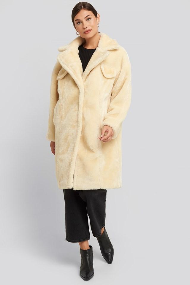 Long Teddy Fur Jacket Offwhite