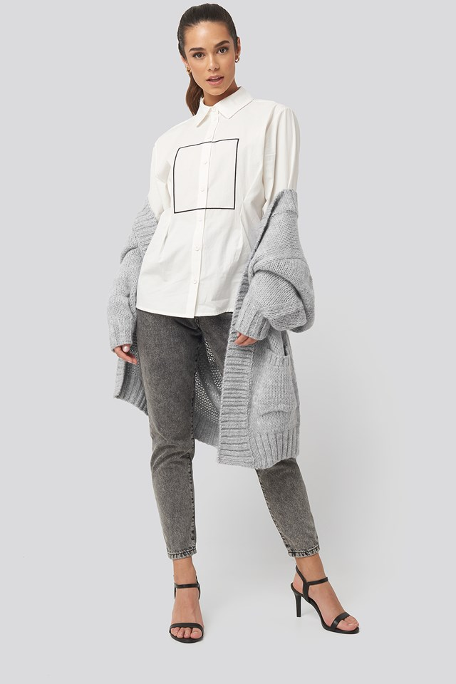 Longline Button Up Shirt White