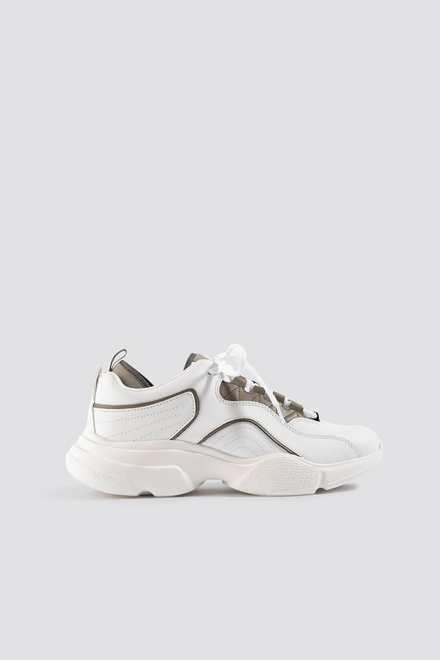 Loop Lacing Trainers White Grey