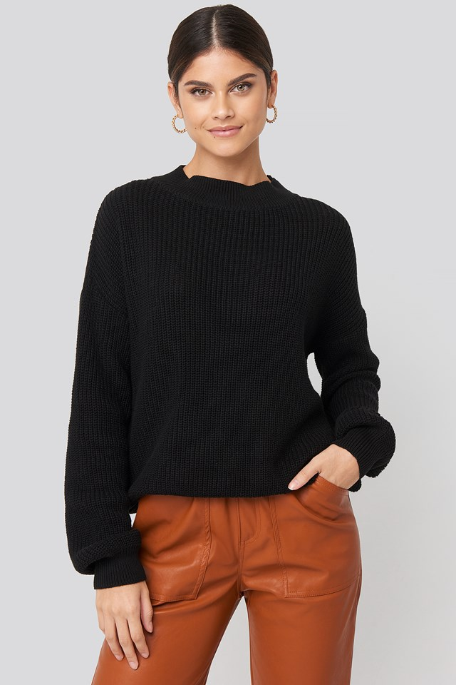 Loose Fit Ribbed High Neck Sweater NA-KD