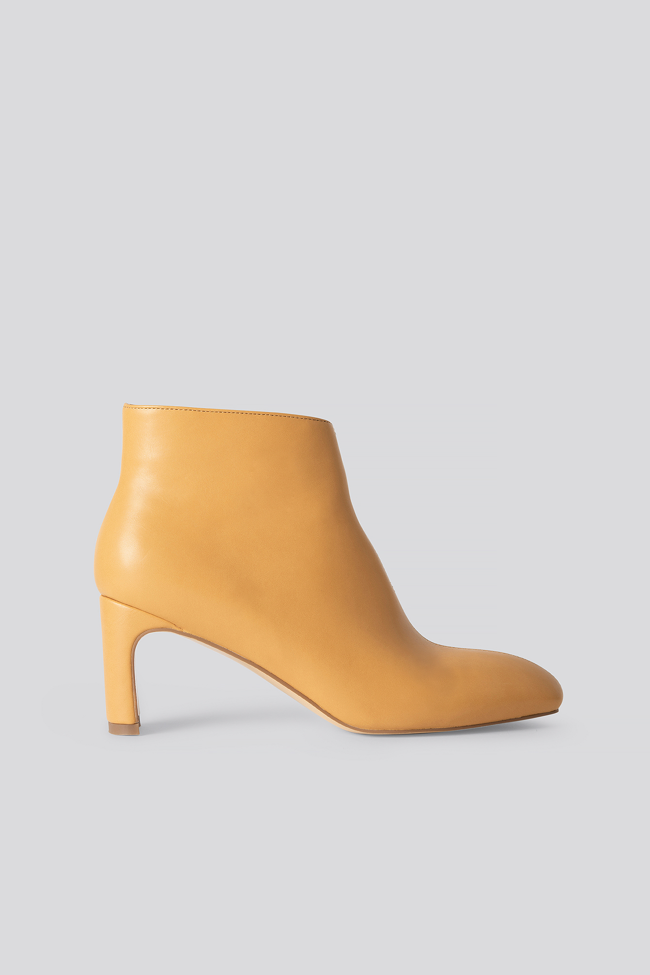 Cognac Low Slanted Shaft Booties