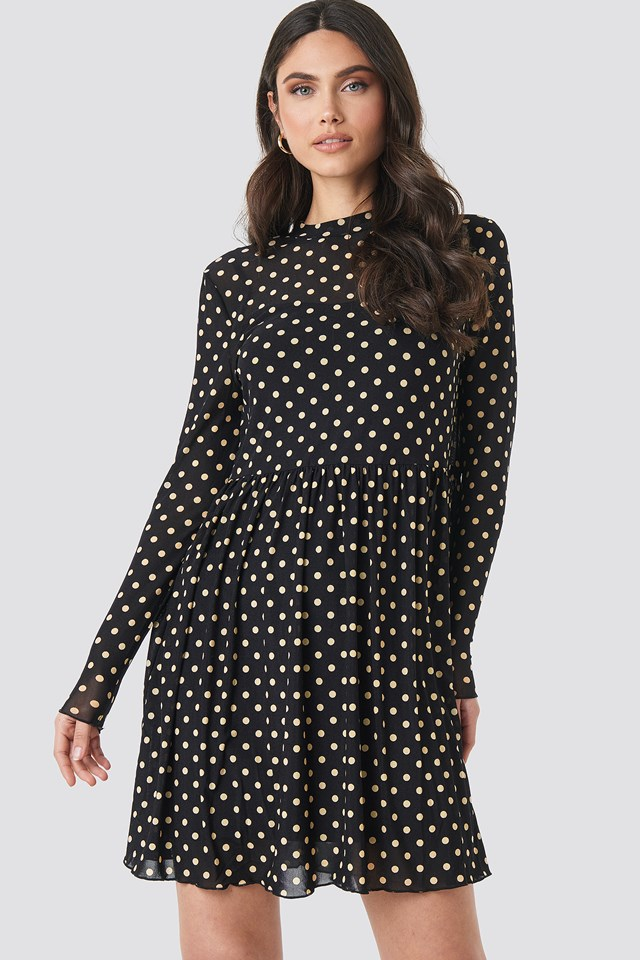 Mesh Dot Dress Black/Beige