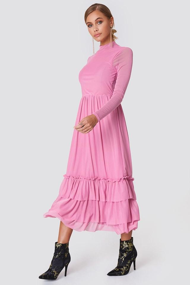 Mesh Frill Dress Ballet Pink