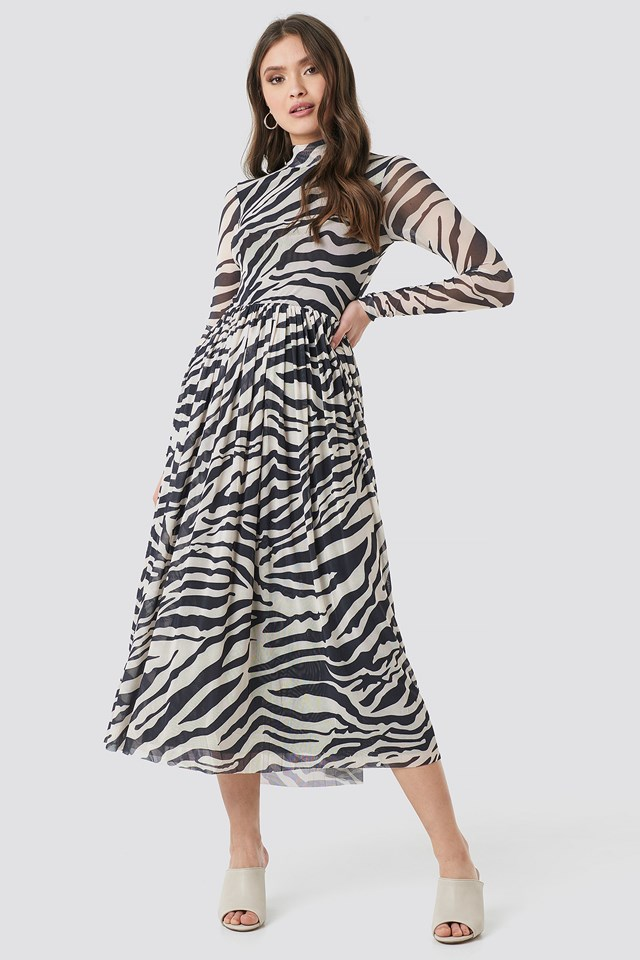 Mesh LS Midi Dress Zebra
