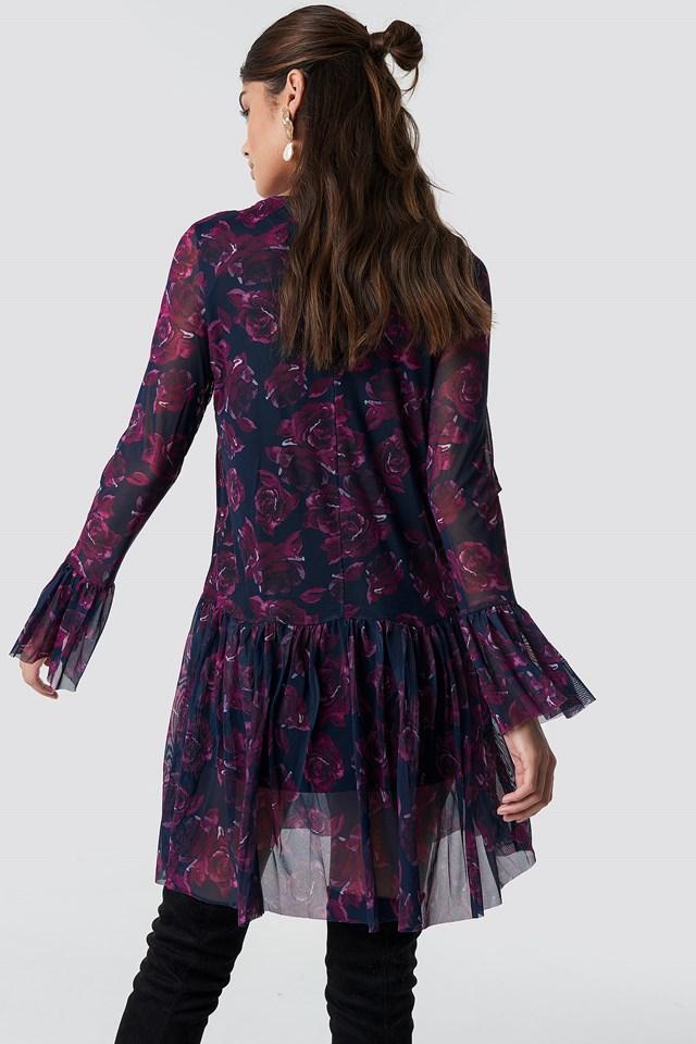 Mesh Round Neck Dress Navy/Purple