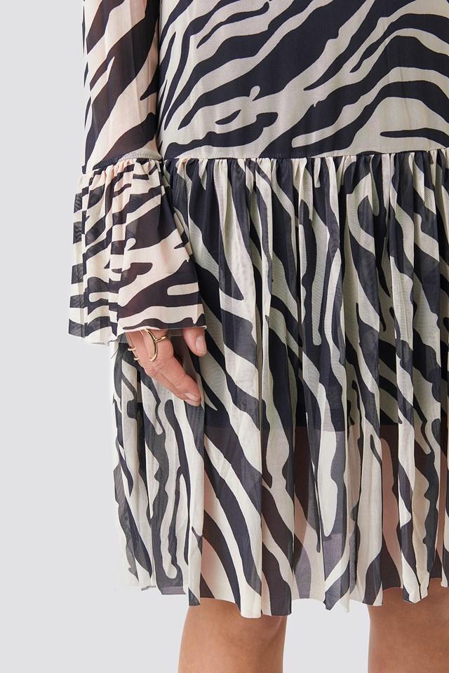 Mesh Round Neck Dress Zebra